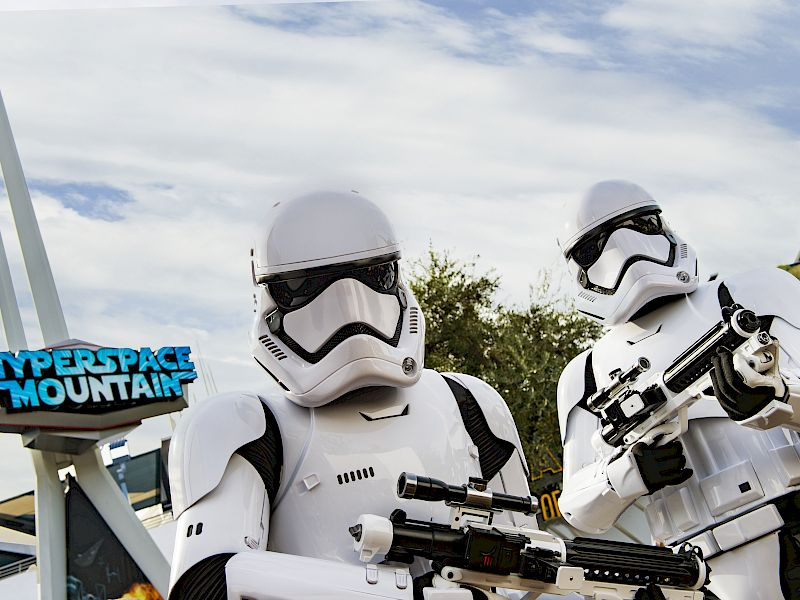 Storm Troopers in front of Space Mountain at DISNEYLAND® Resort